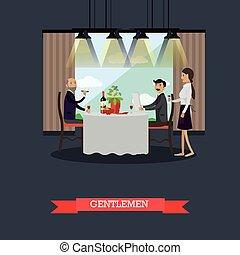 Gentlemen in restaurant concept vector illustration in flat...