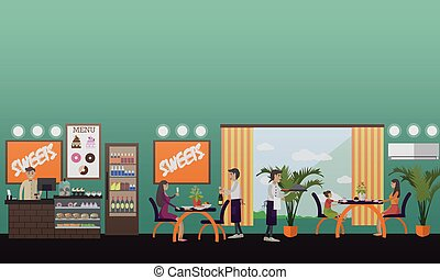 Eatery concept vector illustration in flat style.