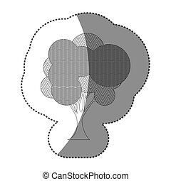 contour set of abstract tree icon