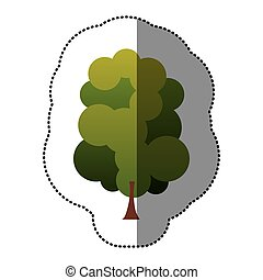 color stamp set of abstract tree icon