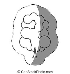 silhouette stamp set of abstract tree icon