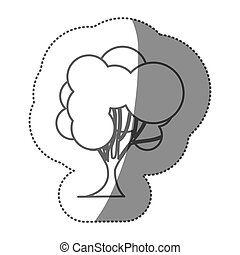 figure stamp set of abstract tree icon