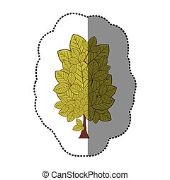 lime green sticker stylized tree icon, vector illustraction...