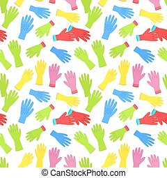 seamless texture with colourful set of gardening gloves on...