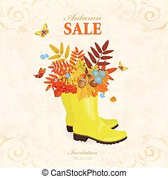 older paper sale banner. rubber boots with colorful bouquet of a