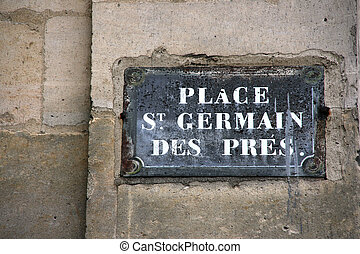 Paris street - Sign with a square name in Paris, France:...