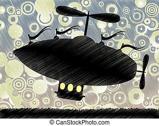Sketchy fantasy airship lifts offs