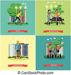 Vector set of modern transport concept posters in flat style...