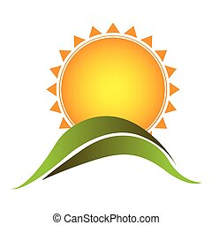 color sticker sun with mountain icon