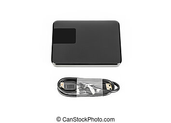 External hard disk drive on white background . - External...