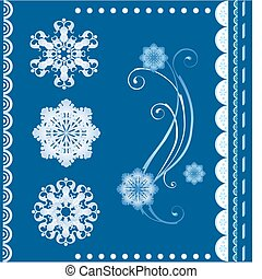 set of  the winter design elements