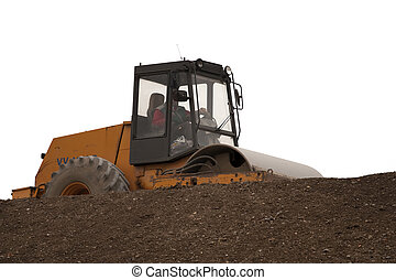 Road roller working on brown soil - white isolated