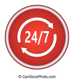 Open 24 hours vector icon. Non stop working shop or service...
