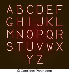 Glowing red neon alphabet letters from A to Z. Vector illustration.