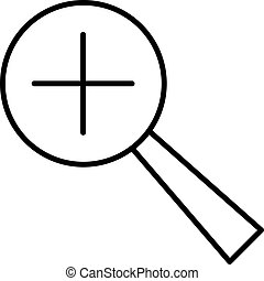 magnifying with the plus icon black contour on a white background of vector illustration