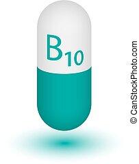 Vitamin B10, para-aminobenzoic acid. Two-tone capsule on a...