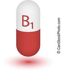 Vitamin B1 gold shining pill capcule icon . Vitamin complex...