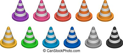 Cone fencing. Set of multicolored three-dimensional objects....