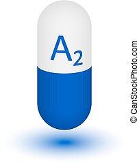 Vitamin A2 shining pill capcule icon . Vitamin complex with...