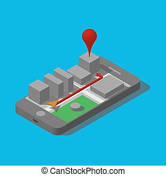 Mobile three-dimensional city and showing the way. GPS Navigator on your phone.