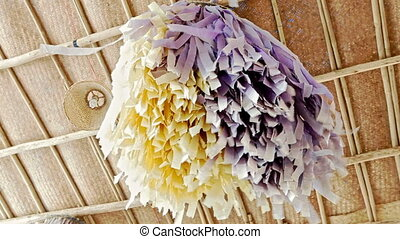 Wedding Canopy Decorated with Purple Yellow Tassels - wind...