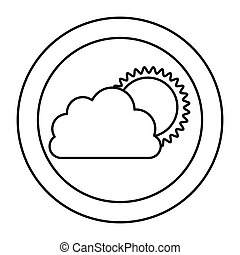 silhouette cloud with sun icon