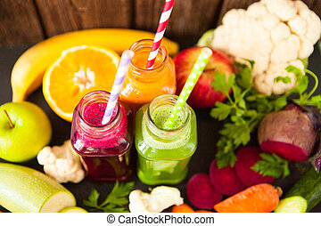 Various Freshly Squeezed Vegetable Juices for Detox -...