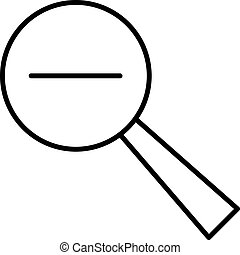 magnifying with the minus icon black contour on a white background of vector illustration