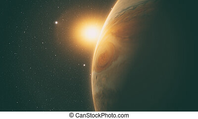 jupiter with beautiful sunrise from space with stars.