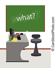 teacher s desk. concept of education. illustration. use a...