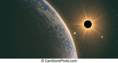 full sun eclipse with Abstract scientific background - sun...