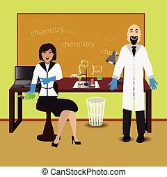 teacher of man and woman in chemistry at the table