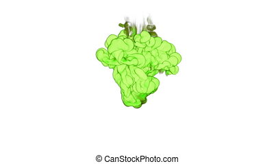 Cloud of green Ink underwater or smoke with alpha mask. Use for transitions, background, overlay and effects. 3d VFX Ink background with very high detail Ver 4