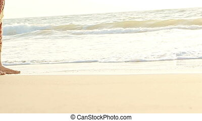 Groom Bride in Long Walk Barefoot in Shallow Water by Surf -...