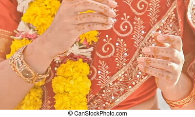 Macro Newlyweds Wear Wedding Rings at Indian Ceremony -...