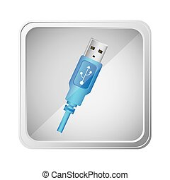 emblem blue pendrive icon, vector illustraction design image