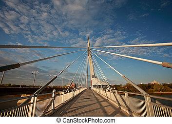 Unique walkway bridge over the Red River in Winnipeg