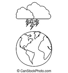 figure earth planet with cloud ray icon
