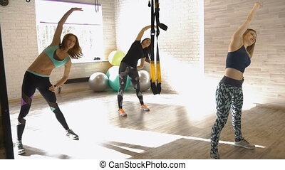 Group of beautiful girls do fitness. To promote health and a...