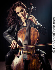 Gorgeous cellist - Photo of a beautiful female musician...