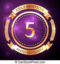 Five years anniversary celebration with golden ring and ribbon on purple background.