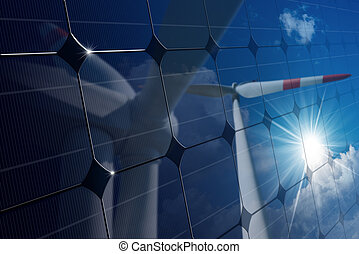 Solar Panel with Reflection of Wind Turbines