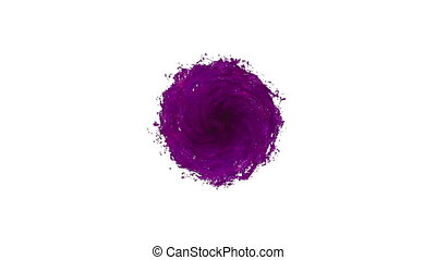 Liquid tornado on white background. Beautiful colored paint is whirling. Isolated transparent vortex of liquid like juice, 3d animation with alpha matte. Version 14