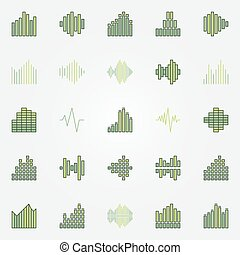 Soundwave colorful icons set. Vector green music sound wave...