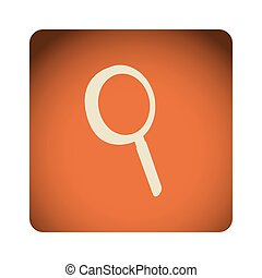 orange emblem magnifying glass icon