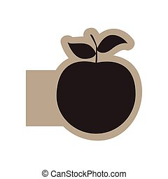 dark contour apple fruit icon