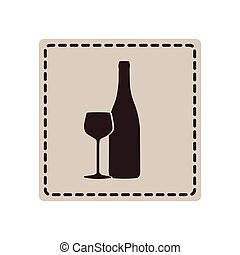 emblem wine bottle with glass icon