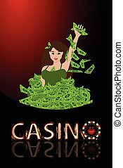 Casino girl to sink a lot of money. concept of finance....