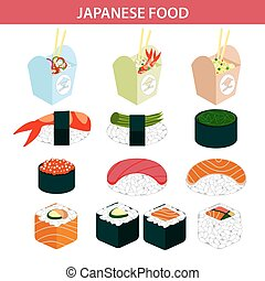 Japanese food sushi and seafood sashimi rolls vector icons -...