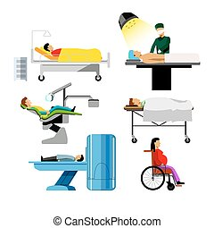 Hospital patients of dentist, surgeon, mri medical icons...